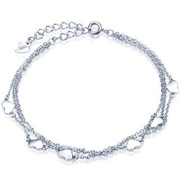 Unendlich U Klassisch Herzen Damen Armband 925 Sterling Silber Armkette Verstellbar Charm-Armband Armkettchen, Rosegold/Silber (Silber)