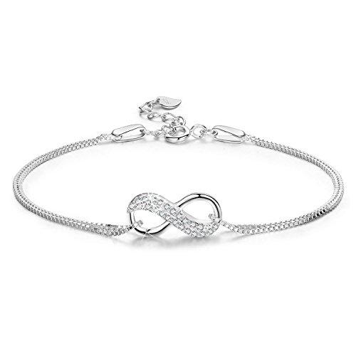 LDUDU® Damen Armband mit unendlicher Liebe Zirkon Armkette Silber 925 Geschenk für Weihnachten Valentinstag Geburtstag, verstellbar 16 - 19.5 cm