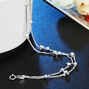 Armband Damen Silber Stern Armkette Kette Frauen Schmuck mit 925 Sterling Silber Freundschaft Geschenk für Mädchen Teenager