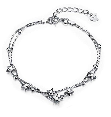 billig für Rabatt Leistungssportbekleidung bieten eine große Auswahl an Armband Damen Silber Stern Armkette Kette Frauen Schmuck mit 925 Sterling  Silber Freundschaft Geschenk für Mädchen Teenager