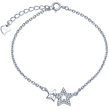 Unendlich U Fashion Doppel Sterne Damen Armband 925 Sterling Silber Zirkonia Armkette Verstellbar Charm Armkettchen Armreif, Silber