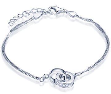 Unendlich U Damen Armband 925 Sterling Silber Zirkonia Ineinander Verschlungene Ringe Doppelringe Armkette Verstellbar Charm Armkettchen, Rosegold/Silber (Silber)