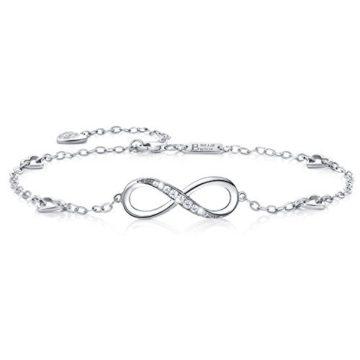 Billie Bijoux Infinity Unendlichkeit Symbol Damen Fußkettchen 925 Sterling Silber Zirkonia Armkette Verstellbar Charm Knöchel Armband