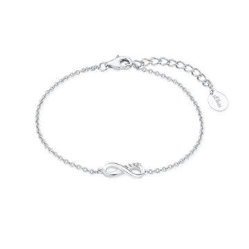 s.Oliver Damen-Armband So Pure 16+3 cm mit Infinity Unendlichkeitszeichen Anhänger 925 Silber rhodiniert Zirkonia weiß