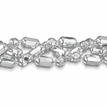 Amberta 925 Sterlingsilber Armkette - Diamantierte Kugelkette Armband - 3.5 mm Breite - Verschiedene Längen: 18 19 20 cm (20cm)