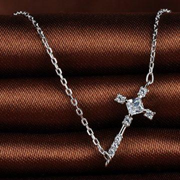 Unendlich U Elegant Kreuz Damen Mädchen Charm-Armband 925 Sterling Silber Zirkonia Armkette Verstellbar Armkettchen, Silber
