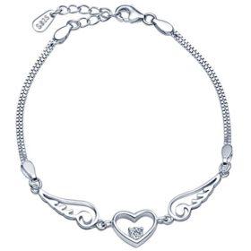 Unendlich U Herz Engelsflügel Damen Strang Armband 925 Sterling Silber Lila/Weiß Zirkonia Charm Armkette Verstellbar Doppel Armkettchen Armreif, Silver (Silber-Weiß)