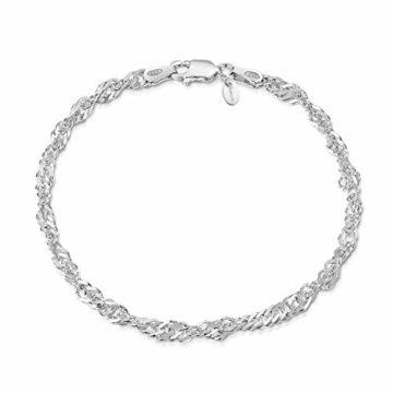 Amberta 925 Sterlingsilber Armkette - Singapurkette Armband - 3.6 mm Breite - Verschiedene Längen: 18 19 20 cm (20cm)