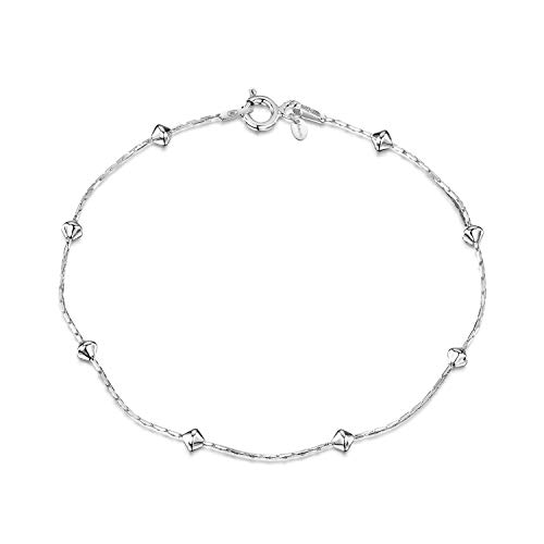 Amberta 925 Sterlingsilber Armkette - Schlangenkette mit Kügelchen Armband - 1 mm Breite - Verschiedene Längen: 18 19 20 cm (19cm)
