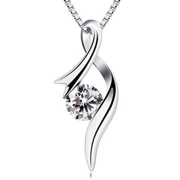 B.Catcher Damen Kette Halskette 925 Silber Anhänger Twist 5A Zirkonia Schmuck 45CM Kettenlänge Valentinstag Geschenk