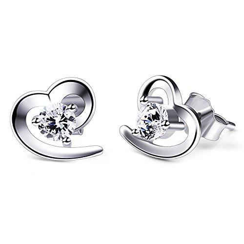 B.Catcher Herz Ohrringe Damen 925 Sterling Silber Ohrschmuck Ohrstecker Schmuck Valentinstag Geschenk