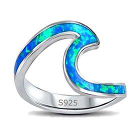 Presentski Blau Opal Ring, Ozean Wellen Ring aus 925 Sterling Silber (Größe 57 (18.1))
