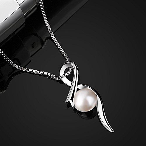 B.Catcher Perle Halskette Kette Anhänger 925 Sterling Silber ''Die wahre Liebe'' Schmuck Süßwasser Zuchtperle Schmuck 45CM Kettenlänge Valentinstag Geschenk