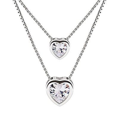 B.Catcher Doppelkette Herz Damen Halskette Anhänger 925 Sterling Silber Zirkonia Schmuck Valentinstag Geschenk