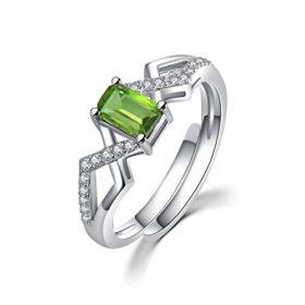 COLORFEY Schmuck grün silber ring für Damen Weißgold mit Stein Tourmaline aus Brasilien Tolle Geschenk für Valentine Jahrestag Geburtstag (Gr. 52-60/größe Verstellbare)