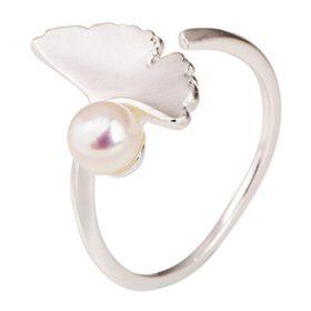 Lieberpaar Damen Ginkgo Süßwasserperlen 925 Sterling Silber Ringe Einstellbar verstellbare Schmucksachen Als Weinachtengeschenk
