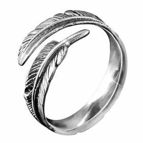 MATERIA Schmuck 925 Silber Ring Federn antik - Silber Damen Ring Feder in Gr. 52 - 60 / Größe verstellbar #SR-23