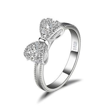 JewelryPalace Bogen Einfach Kubik Zirkonia Jahrestag Hochzeit Ring 925 Sterling Silber