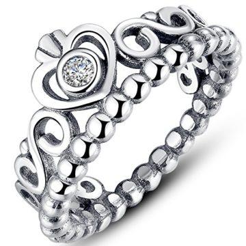 Presentski 925 Sterling Silber Herz Prinzessin Krone Modeschmuck Ring mit Stein Zirkonia für Damen Wedding