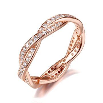 Presentski 925 Sterling Silber Tröpfchen Ring mit CZ für Ewigkeit Frauen Damen Mädchen