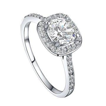 Damen Klassischer 925 Sterling Silber Ring (US 6(51.8mm), Quadrat Weiss)