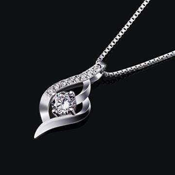 B.Catcher Kette Damen Halskette 925 Silber Anhänger Silberschmuck Zirkonia Twist 45CM Kettenlänge Valentinstag Geschenk