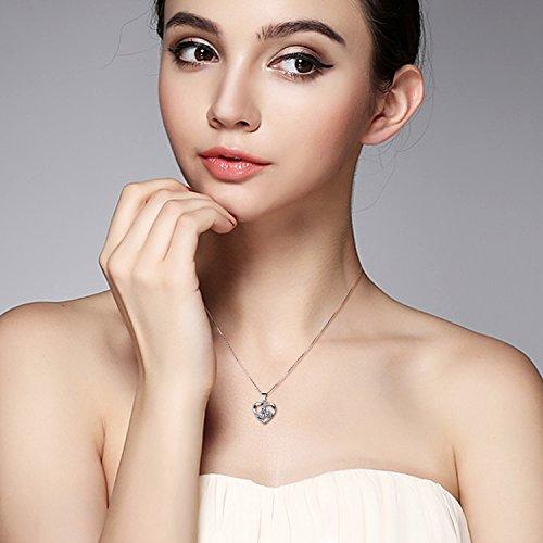 B.Catcher Kette Herz Damen Halskette 925 Sterling Silber Anhänger ''Liebe ist das Glück''Schmuck Zirkonia 45CM Kettenlänge Geschenk