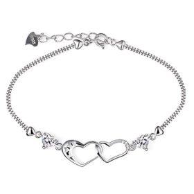 B.Catcher Damen Armband Herz 925 Silber Schmuck Liebe Handgefertigt Einstellbar Valentinstag Geschenk mit Box (16.2+3.7 cm)
