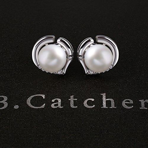 B.Catcher Perlenohrringe Damen Ohrstecker Herz 925 Silber Ohrschmuck Herzsprache Schmuck Zirkonia Süßwasser Zuchtperle Schmuck Valentinstag Geschenk