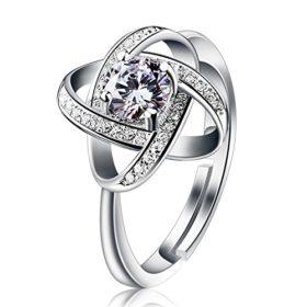 B.Catcher Ring Damen 925er Silber Anhänger Twist-Würfel Liebe Set Zirkonia Verstellbar #54-60mm Valentinstag Geschenk