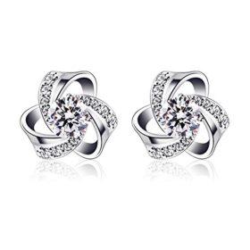 B.Catcher Ohrringe Damen S925 Silber Ohrstecker Ohrschmuck Blume Anhänger ''Vergesst mich nicht'' Set Zirkonia Valentinstag Geschenk