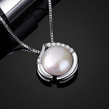 B.Catcher Perlen Damen Kette Halskette 925 Sterling Silber Herzsprache SüßwasserZuchtperle Schmuck 45CM KettenlängeValentinstagGeschenk
