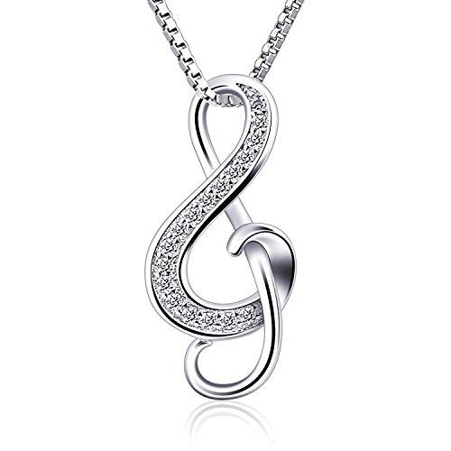 B.Catcher Kette Damen 925 Silber Halskette Anhänger Note Music Notenschlüssel Schmuck 45CM Kettenlänge Valentinstag Geschenk