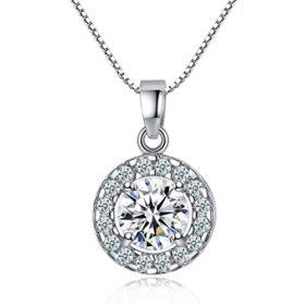 Kette Damen Runder Käfig der Liebe 925 Sterling Silber Halskette Anhänger Set 5A Zirkonia mit 45cm Kastenkette