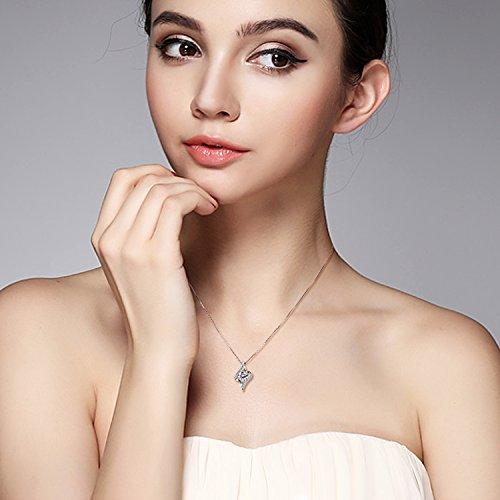 B.Catcher Halskette Kette Damen 925 Silber Anhänger ''Liebe auf ersten Augenblick'' Schmuck 45CM Kettenlänge Valentinstag Geschenk