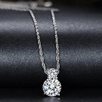 Silber 925 Kette mit Anhänger Damen-Kette Zirkonia Stein Halskette Silberkette Ketten-Anhänger Geschenk by CJbrother