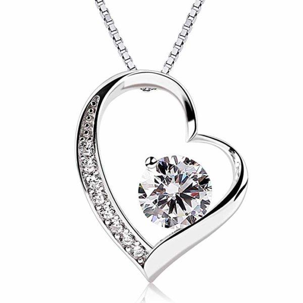 B.Catcher Herz Halskette Kette Anhänger 925 Silber Damen Schmuck ''Ewig Liebe''45CM Kettenlänge Valentinstag Geschenk
