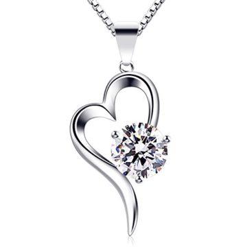 B.Catcher Herz Halskette Damen 925 Sterling Silber Anhänger ''Liebe auf den ersten Blick'' Zirkonia Schmuck 45CM Kettenlänge Valentinstag Geschenk
