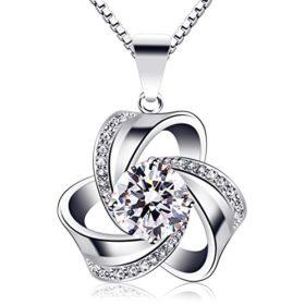 B.Catcher Kette Damen Halskette 925 Sterling Silber Blume Anhänger''Vergesst mich nicht'' Set Zirkonia 45CM Kettenlänge Valentinstag Geschenk