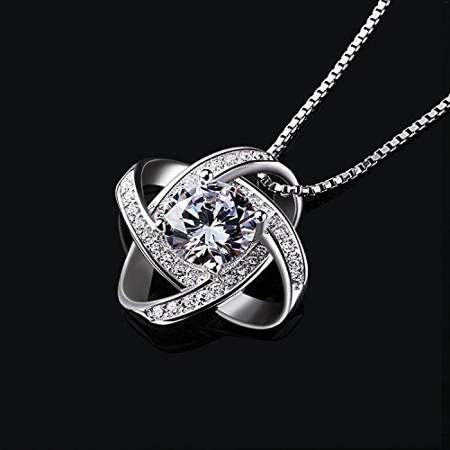 B.Catcher Kette Damen Halskette 925 Sterling Silber Anhänger Twist-Würfel Liebe 45CM Kettenlänge Valentinstag Geschenk