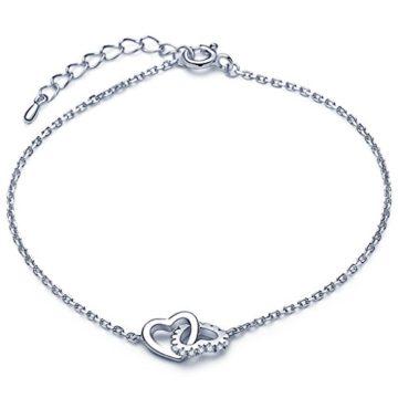 Unendlich U Klassisch Ineinander Verschlungene Herzen Damen Charm-Armband 925 Sterling Silber Zirkonia Armkette Verstellbar Armkettchen, Silber