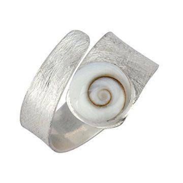Silver Damen 925 Sterling Silber Weiß Shiva Eye Schale Spiralförmig Swirl Satin justierbarer Ring