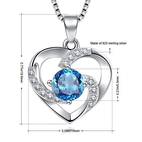 Damen Collier mit blauem Herz Zirkonia 925 Sterling Silber Herzanhänger mit feiner Silberkette