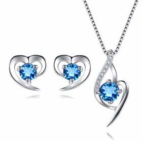 Damen-Schmuck-Set aus Sterling-Silber 925 mit Herzanhänger und Ohrringen mit funkelndem AAA Zirkonia in exquisiter Geschenkbox (blau)