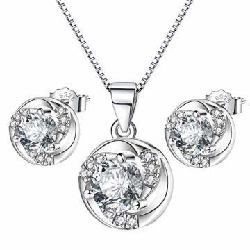 Schmuckset Silber 925 Damen Mädchen, Valentinstag Geburtstag Muttertag geschenk, Ohrringe Kette Set 45cm mit Geschenkbox, funkelnde Zirkonia Inlay