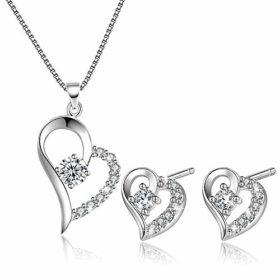 Liebes- und Herz-Halskette mit Anhänger für Frauen und Ohrringe, Schmuck-Set aus Sterling-Silber