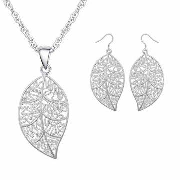 Silber-Schmuckset 'Blätter' - 925er Sterling Silber - Ohrringe & Halskette