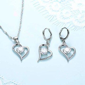 Schmuckset - Halskette und Ohrringe - 925er Sterling Silber mit Zirkonia