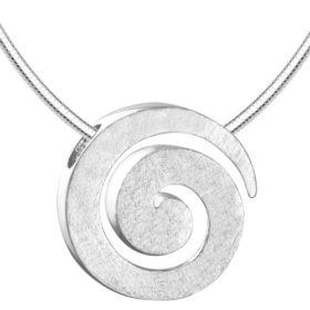 Vinani Damen-Anhänger Spirale gebürstet mit Schlangenkette 50 cm Sterling Silber 925 Kette ASR50