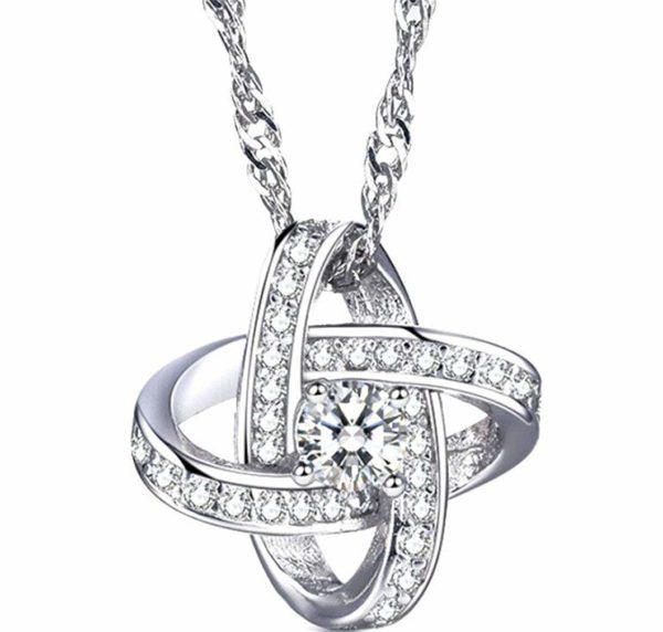 Retro Damen Diamant 925 Sterling Silber Hochzeit Schmuck-Set Ohrhänger Ohrringe Creole +Halskette Brautschmuck Schmuckset als Weihnachts-Geschenk